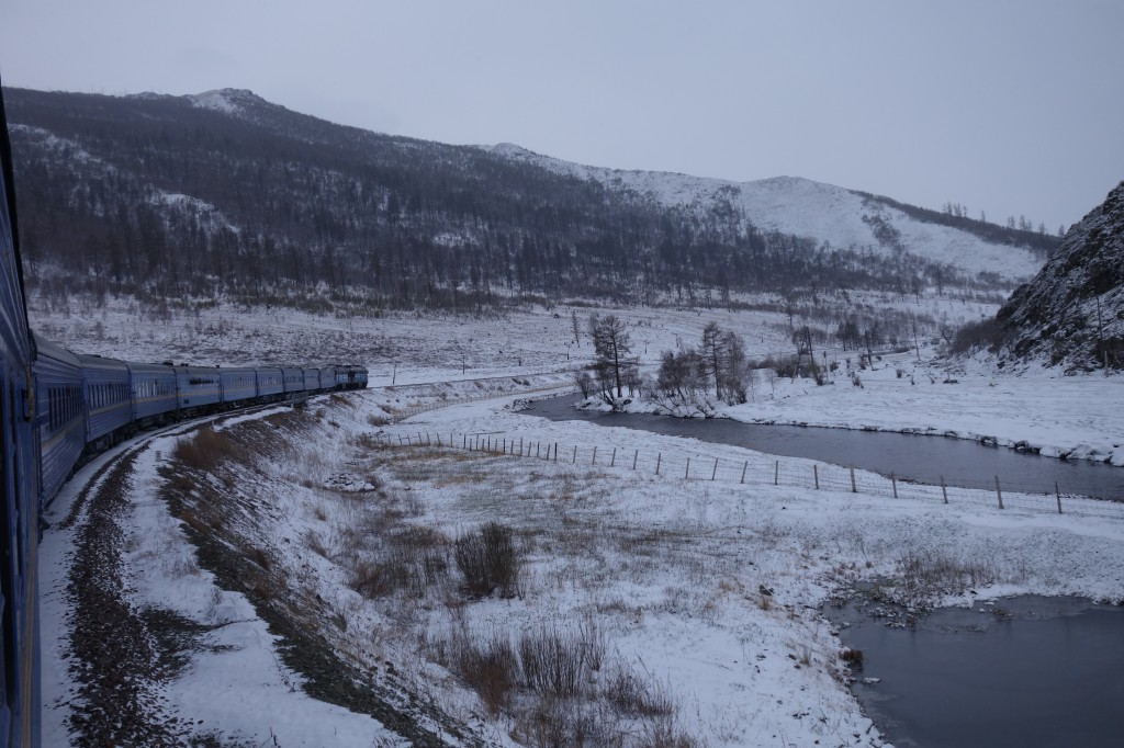 Snow covering the steppes of northern Mongolia, trans-Siberian express May 2014, © Patrick Avery